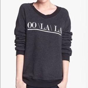 Wildfox Charcoal OO/LA/LA V Neck Sweatshirt